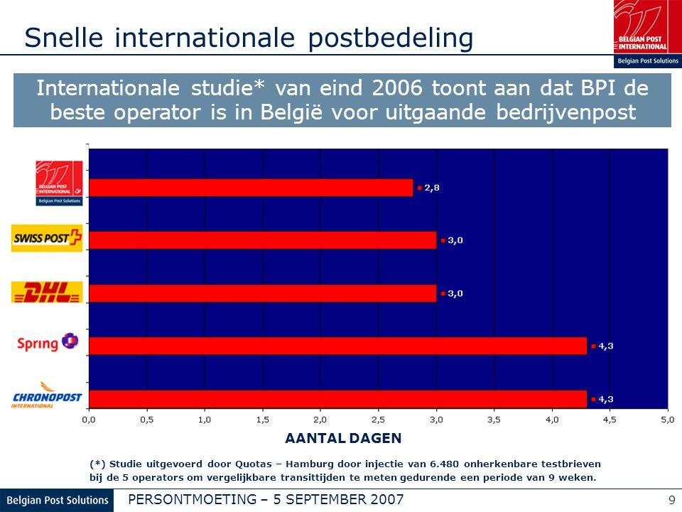 PERSONTMOETING – 5 SEPTEMBER 2007 9 Snelle internationale postbedeling AANTAL DAGEN GGGG Internationale studie* van eind 2006 toont aan dat BPI de bes