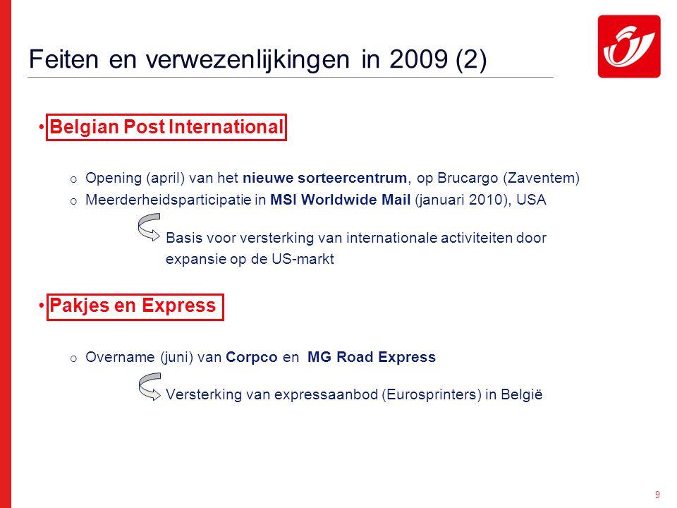 9 Feiten en verwezenlijkingen in 2009 (2) Belgian Post International  Opening (april) van het nieuwe sorteercentrum, op Brucargo (Zaventem)  Meerderheidsparticipatie in MSI Worldwide Mail (januari 2010), USA Basis voor versterking van internationale activiteiten door expansie op de US-markt Pakjes en Express  Overname (juni) van Corpco en MG Road Express Versterking van expressaanbod (Eurosprinters) in België
