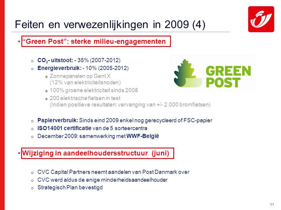 11 Feiten en verwezenlijkingen in 2009 (4) Green Post : sterke milieu-engagementen  CO 2 - uitstoot: - 35% (2007-2012)  Energieverbruik: - 10% (2005-2012) Zonnepanelen op Gent X (12% van elektriciteitsnoden) 100% groene elektriciteit sinds 2008 200 elektrische fietsen in test (Indien positieve resultaten: vervanging van +/- 2.000 bromfietsen)  Papierverbruik: Sinds eind 2009 enkel nog gerecycleerd of FSC-papier  ISO14001 certificatie van de 5 sorteercentra  December 2009: samenwerking met WWF-België Wijziging in aandeelhoudersstructuur (juni)  CVC Capital Partners neemt aandelen van Post Danmark over  CVC werd aldus de enige minderheidsaandeelhouder  Strategisch Plan bevestigd