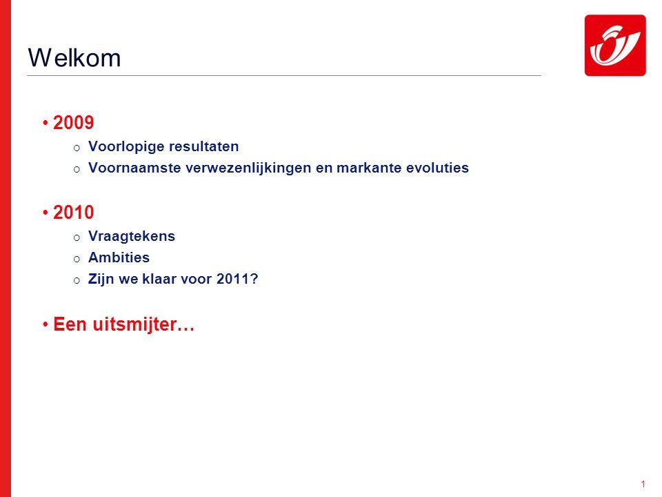 1 2009  Voorlopige resultaten  Voornaamste verwezenlijkingen en markante evoluties 2010  Vraagtekens  Ambities  Zijn we klaar voor 2011.