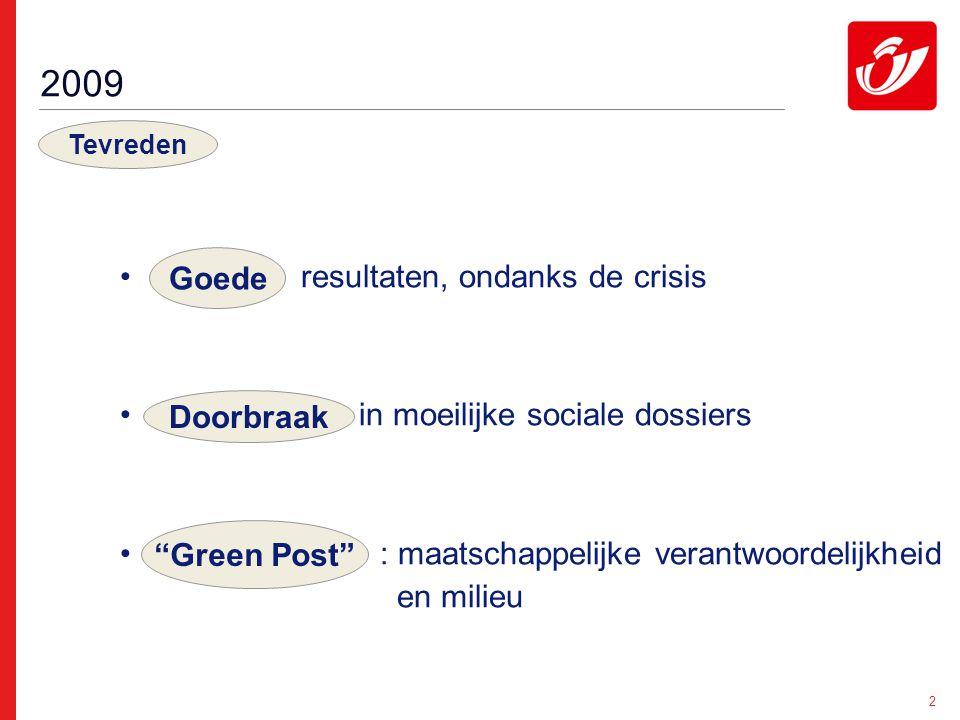 2 resultaten, ondanks de crisis in moeilijke sociale dossiers : maatschappelijke verantwoordelijkheid en milieu 2009 Goede Tevreden Green Post Doorbraak