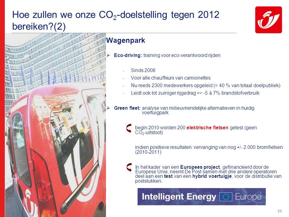 11 Hoe zullen we onze CO 2 -doelstelling tegen 2012 bereiken (2) Wagenpark  Eco-driving: training voor eco-verantwoord rijden Sinds 2008 Voor alle chauffeurs van camionettes Nu reeds 2300 medewerkers opgeleid (= 40 % van totaal doelpubliek) Leidt ook tot zuiniger rijgedrag => -5 à 7% brandstofverbruik  Green fleet: analyse van milieuvriendelijke alternatieven in huidig voertuigpark begin 2010 worden 200 elektrische fietsen getest (geen CO 2 -uitstoot) indien positieve resultaten: vervanging van nog +/- 2.000 bromfietsen (2010-2011) In het kader van een Europees project, gefinancieerd door de Europese Unie, neemt De Post samen met drie andere operatoren deel aan een test van een hybrid voertuigje, voor de distributie van poststukken.