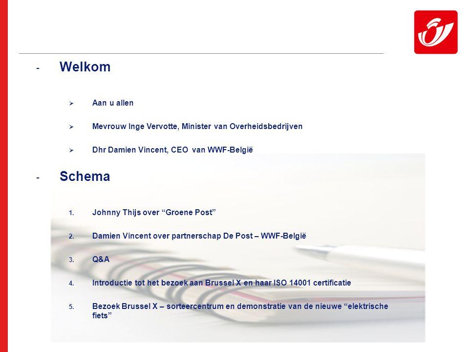 2 - Welkom  Aan u allen  Mevrouw Inge Vervotte, Minister van Overheidsbedrijven  Dhr Damien Vincent, CEO van WWF-België - Schema 1.