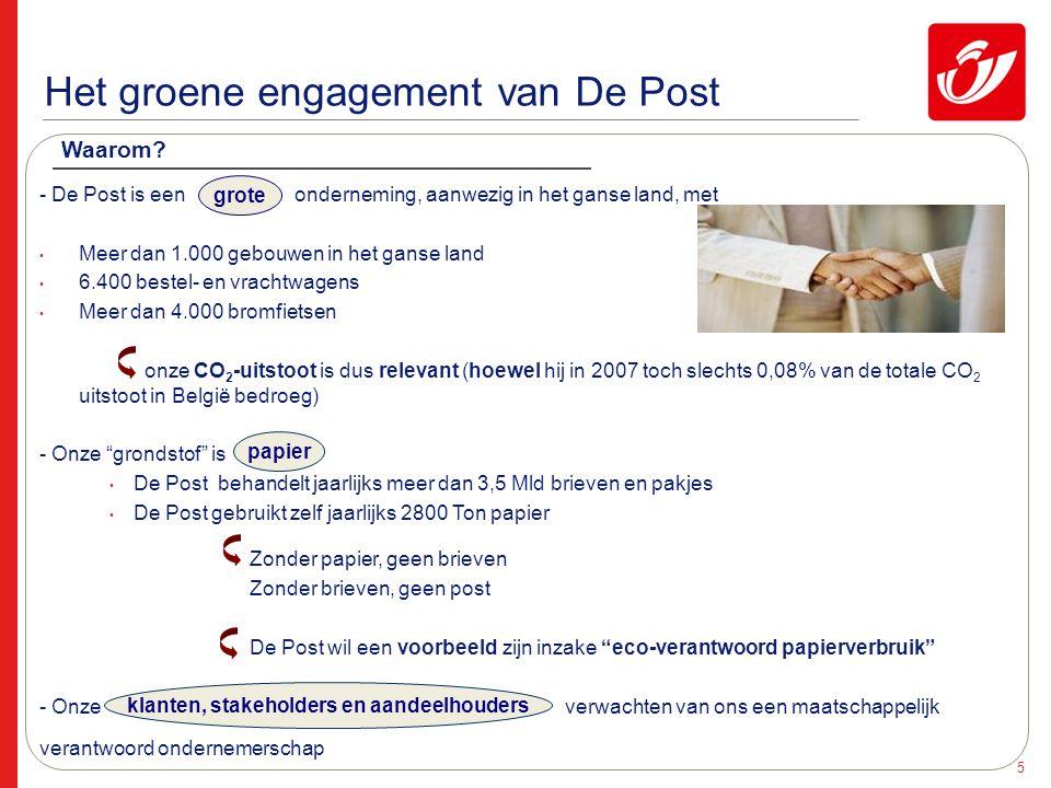 6 Het groene engagement : Green Post Green Post is het programma dat een Groenere Post wil realiseren.