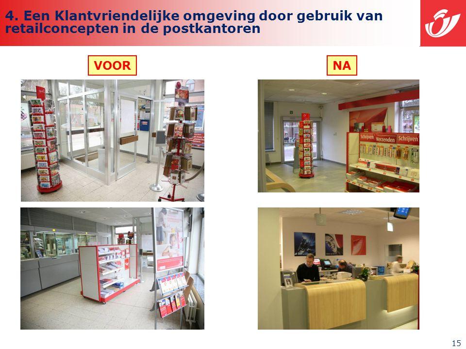 15 VOORNA 4. Een Klantvriendelijke omgeving door gebruik van retailconcepten in de postkantoren