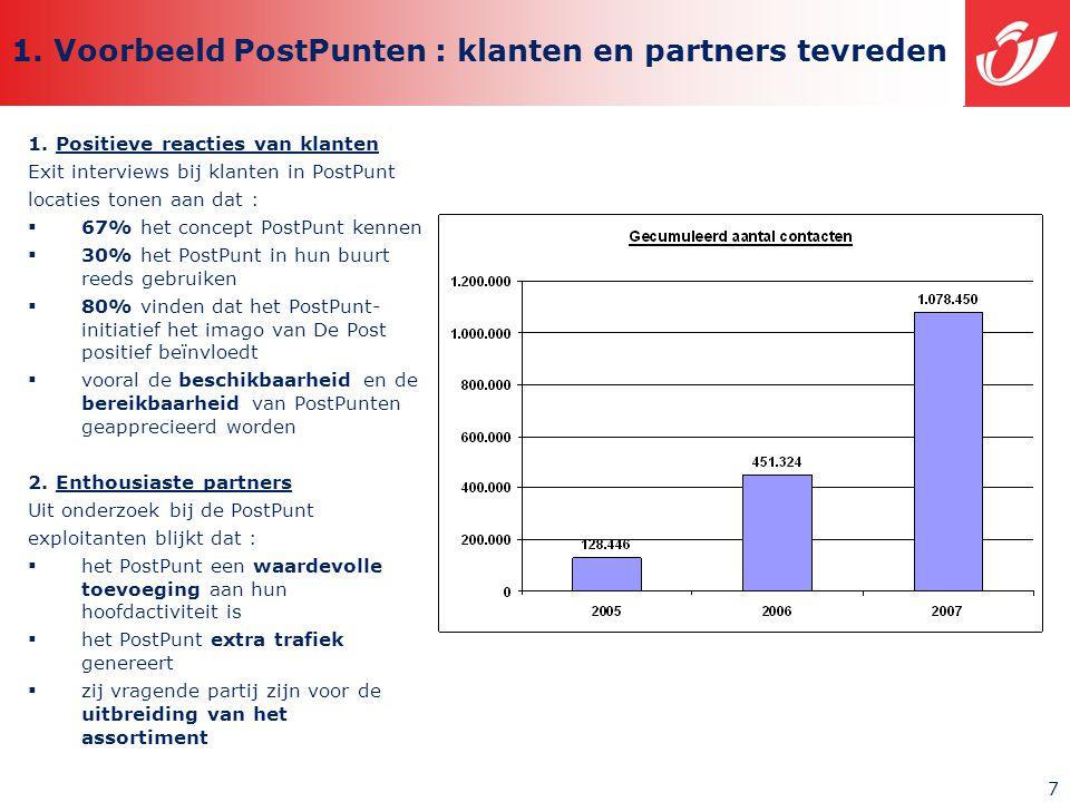 7 1. Voorbeeld PostPunten : klanten en partners tevreden 1.
