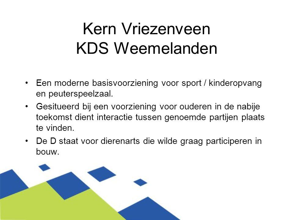 Kern Vriezenveen KDS Weemelanden Een moderne basisvoorziening voor sport / kinderopvang en peuterspeelzaal. Gesitueerd bij een voorziening voor oudere