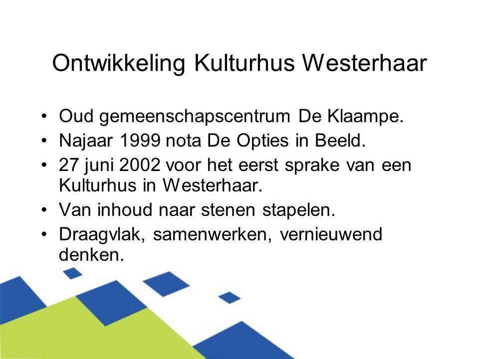 Ontwikkeling Kulturhus Westerhaar Oud gemeenschapscentrum De Klaampe. Najaar 1999 nota De Opties in Beeld. 27 juni 2002 voor het eerst sprake van een