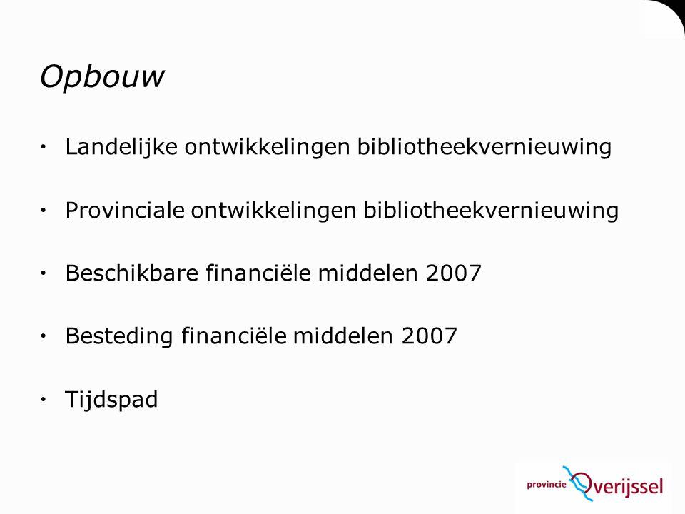 Opbouw  Landelijke ontwikkelingen bibliotheekvernieuwing  Provinciale ontwikkelingen bibliotheekvernieuwing  Beschikbare financiële middelen 2007 