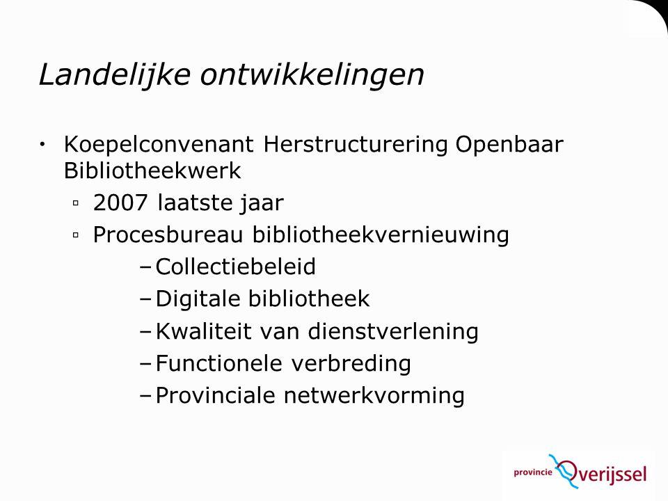 Landelijke ontwikkelingen  Koepelconvenant Herstructurering Openbaar Bibliotheekwerk ▫2007 laatste jaar ▫Procesbureau bibliotheekvernieuwing –Collect