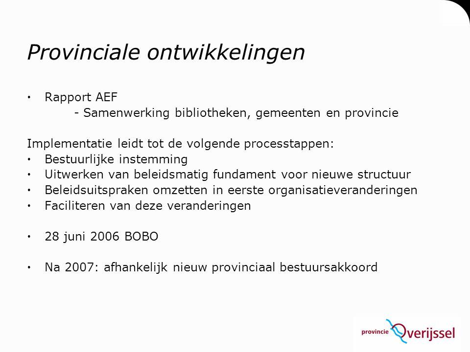 Beschikbare financiële middelen 2007 (exclusief reguliere budgetsubsidies)  OC&W ▫Ondersteunings- middelen, € 460.940,-- ▫Vernieuwingsmiddelen, € 1.050.627,--  Provincie Overijssel ▫Verrijkt en Verreikend, € 200.000,-- ▫HIP, € 50.000,--  Eigen bijdrage bibliotheken € 300.000,--