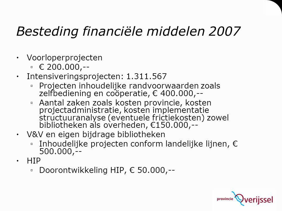 Besteding financiële middelen 2007  Voorloperprojecten ▫€ 200.000,--  Intensiveringsprojecten: 1.311.567 ▫Projecten inhoudelijke randvoorwaarden zoa