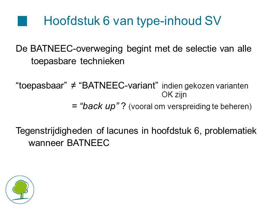 """Hoofdstuk 6 van type-inhoud SV De BATNEEC-overweging begint met de selectie van alle toepasbare technieken """"toepasbaar"""" ≠ """"BATNEEC-variant"""" indien gek"""