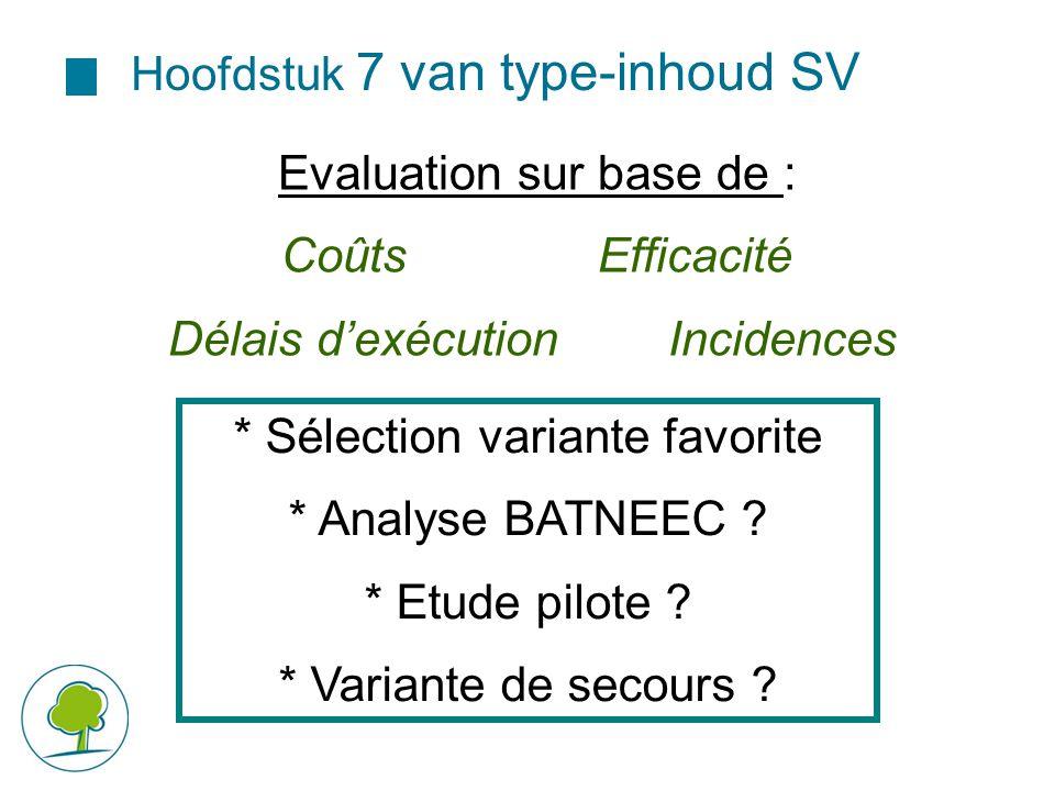 Hoofdstuk 7 van type-inhoud SV Evaluation sur base de : CoûtsEfficacité Délais d'exécution Incidences * Sélection variante favorite * Analyse BATNEEC
