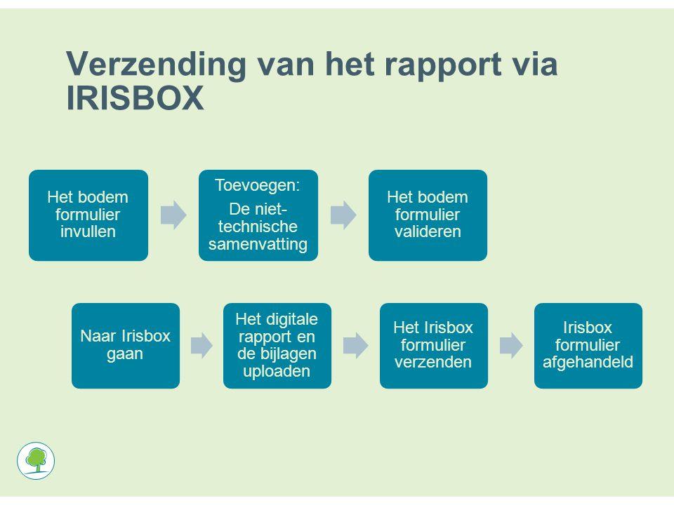 Verzending van het rapport via IRISBOX Het bodem formulier invullen Toevoegen: De niet- technische samenvatting Het bodem formulier valideren Naar Irisbox gaan Het digitale rapport en de bijlagen uploaden Het Irisbox formulier verzenden Irisbox formulier afgehandeld