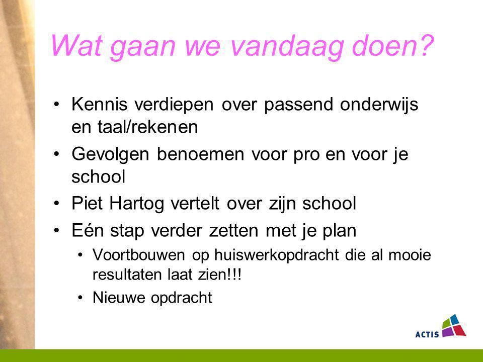 Wat gaan we vandaag doen? Kennis verdiepen over passend onderwijs en taal/rekenen Gevolgen benoemen voor pro en voor je school Piet Hartog vertelt ove