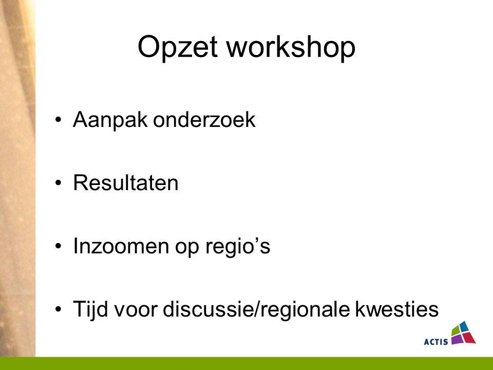 Opzet workshop Aanpak onderzoek Resultaten Inzoomen op regio's Tijd voor discussie/regionale kwesties