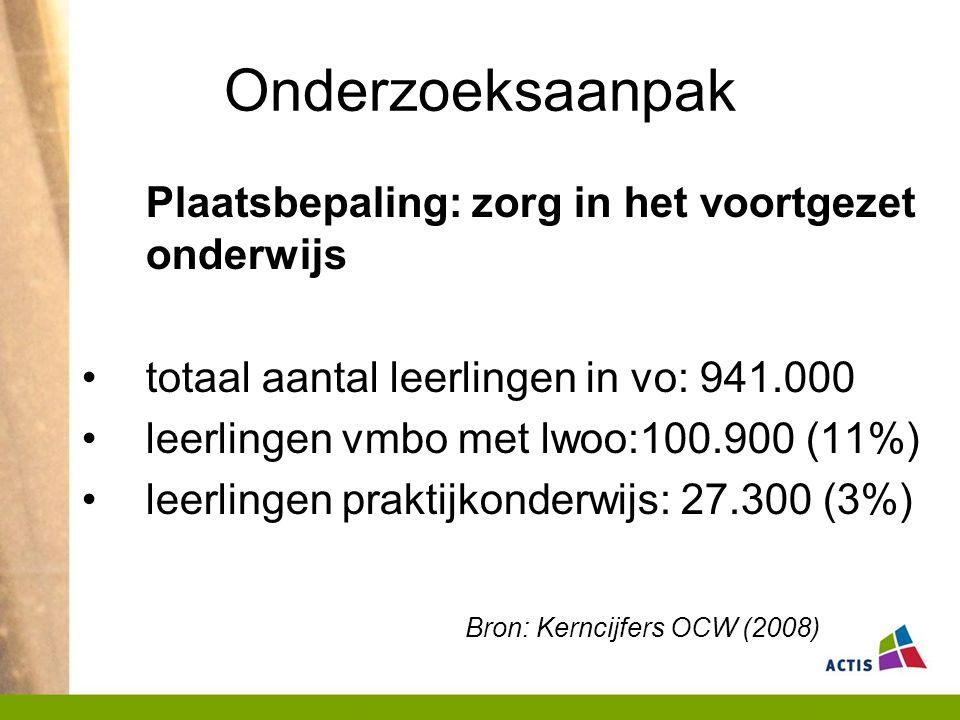 Onderzoeksaanpak Plaatsbepaling: zorg in het voortgezet onderwijs totaal aantal leerlingen in vo: 941.000 leerlingen vmbo met lwoo:100.900 (11%) leerlingen praktijkonderwijs: 27.300 (3%) Bron: Kerncijfers OCW (2008)