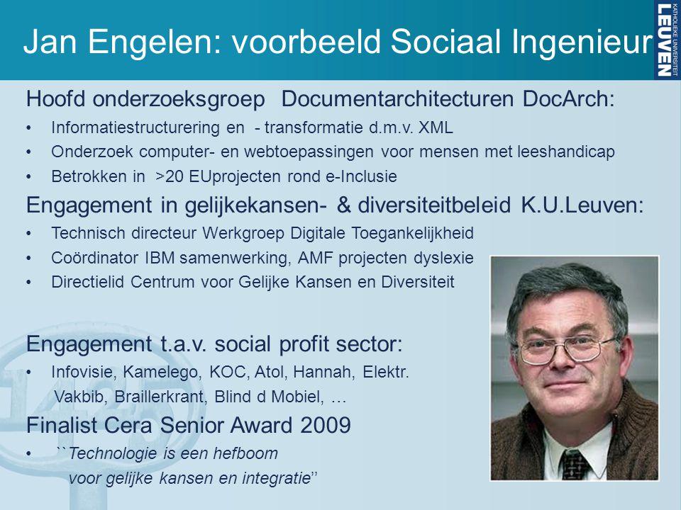 Jan Engelen: voorbeeld Sociaal Ingenieur Hoofd onderzoeksgroep Documentarchitecturen DocArch: Informatiestructurering en - transformatie d.m.v.