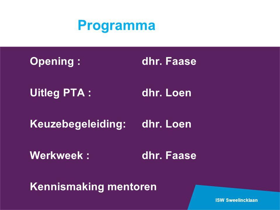 ISW Sweelincklaan Programma Opening :dhr. Faase Uitleg PTA :dhr. Loen Keuzebegeleiding:dhr. Loen Werkweek :dhr. Faase Kennismaking mentoren