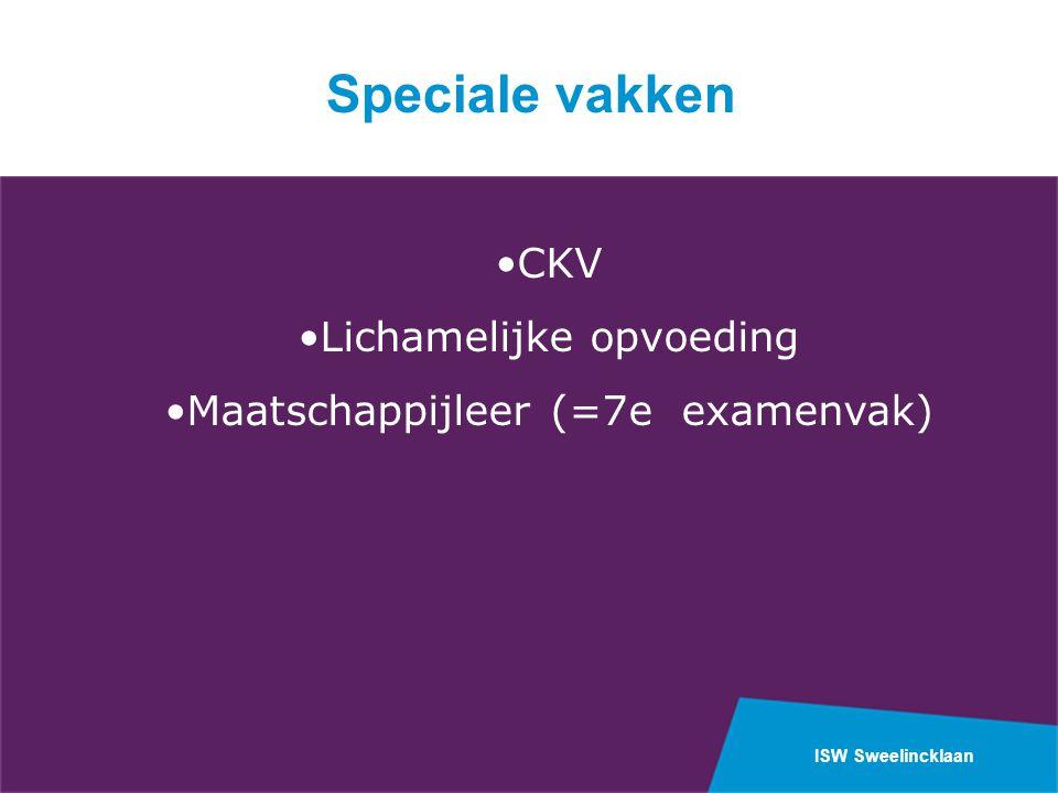 ISW Sweelincklaan CKV Lichamelijke opvoeding Maatschappijleer (=7e examenvak) Speciale vakken