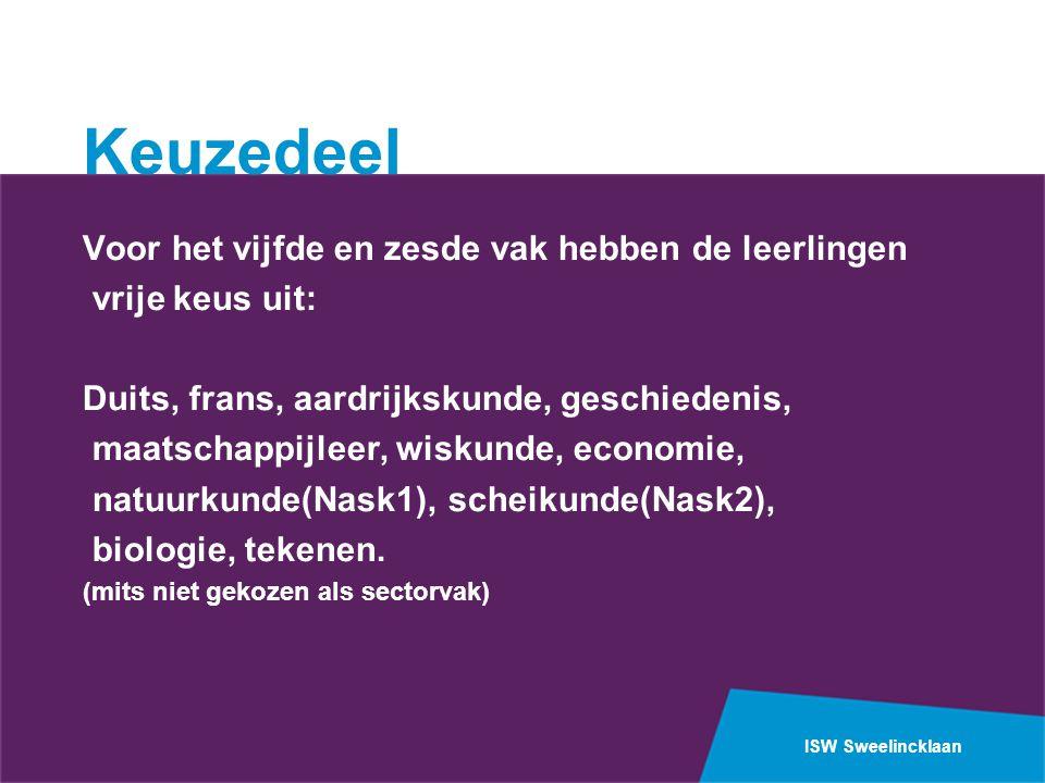 ISW Sweelincklaan Keuzedeel Voor het vijfde en zesde vak hebben de leerlingen vrije keus uit: Duits, frans, aardrijkskunde, geschiedenis, maatschappij