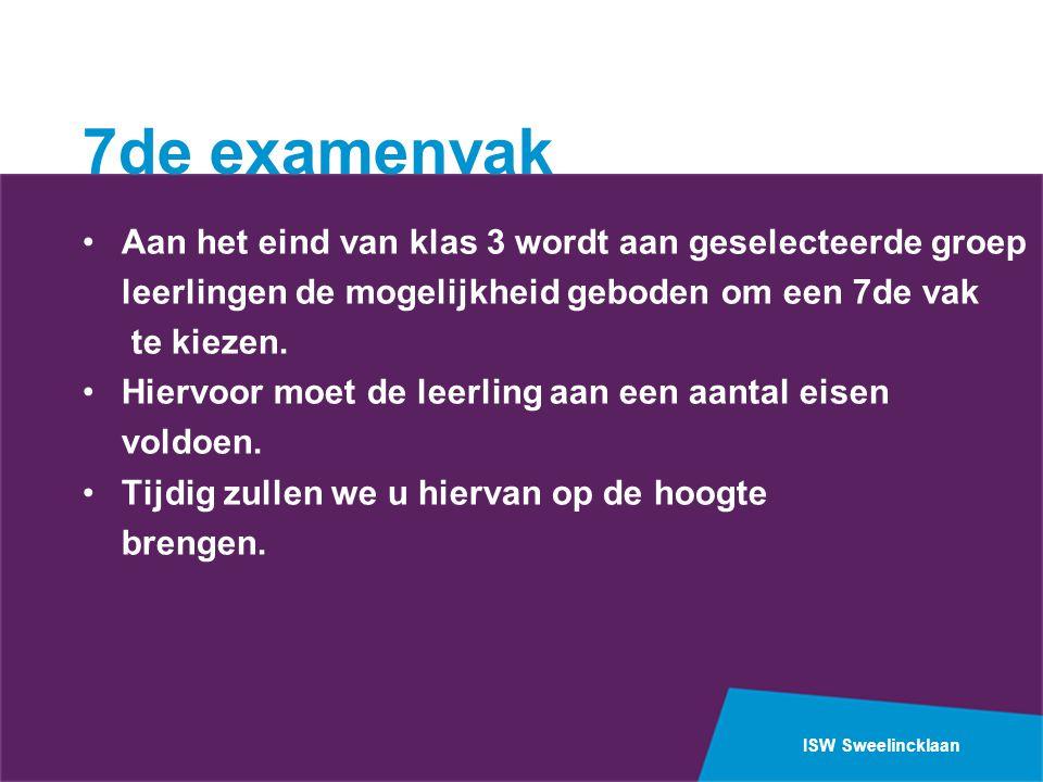ISW Sweelincklaan 7de examenvak Aan het eind van klas 3 wordt aan geselecteerde groep leerlingen de mogelijkheid geboden om een 7de vak te kiezen. Hie