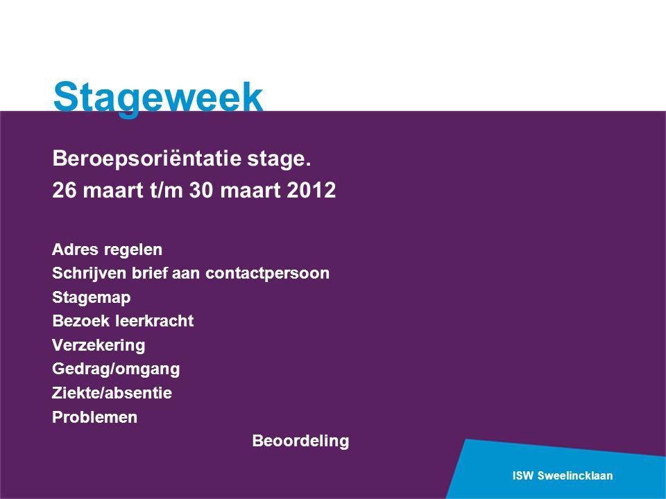 ISW Sweelincklaan Stageweek Beroepsoriëntatie stage. 26 maart t/m 30 maart 2012 Adres regelen Schrijven brief aan contactpersoon Stagemap Bezoek leerk