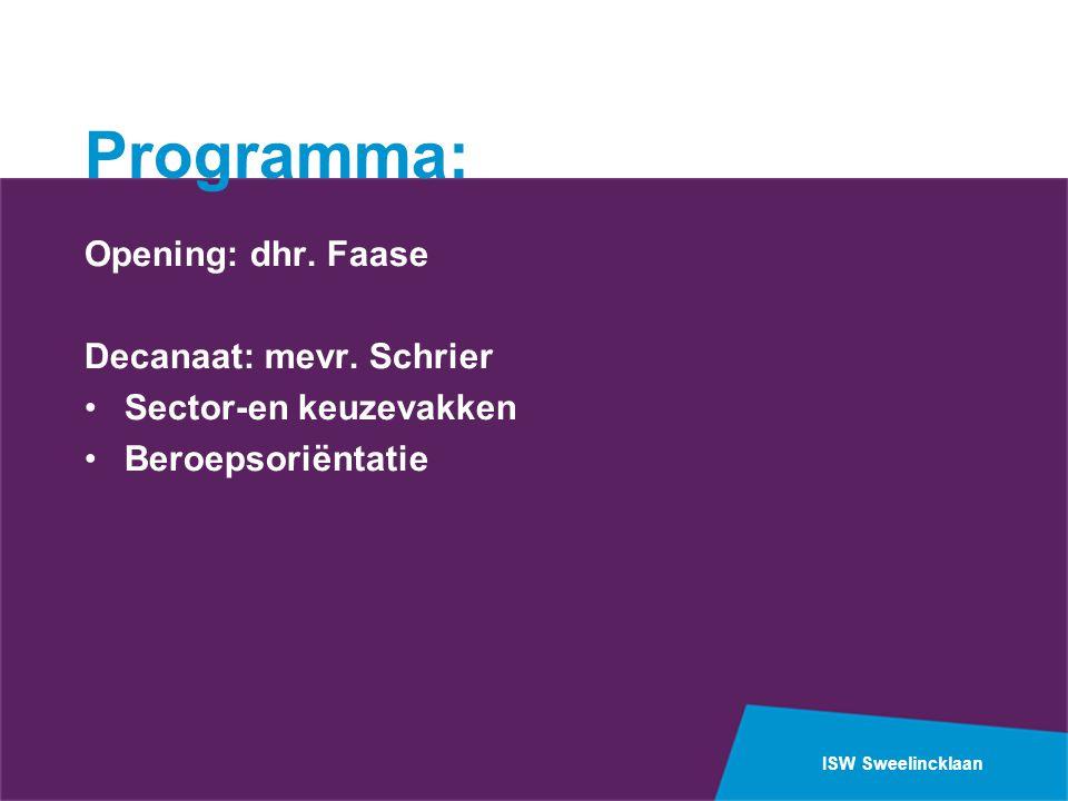 ISW Sweelincklaan Programma: Opening: dhr. Faase Decanaat: mevr. Schrier Sector-en keuzevakken Beroepsoriëntatie