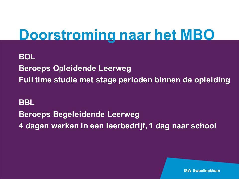 ISW Sweelincklaan Doorstroming naar het MBO BOL Beroeps Opleidende Leerweg Full time studie met stage perioden binnen de opleiding BBL Beroeps Begelei