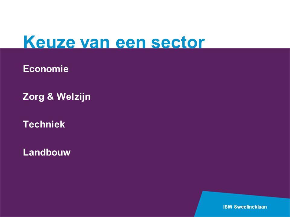 ISW Sweelincklaan Vakkenpakket Gemeenschappelijk deel: Nederlands en Engels Verplichte sectorvakken: Economie:Economie Zorg en Welzijn:Biologie Landbouw:Wiskunde Techniek:Wiskunde en Natuurkunde(Nask1)