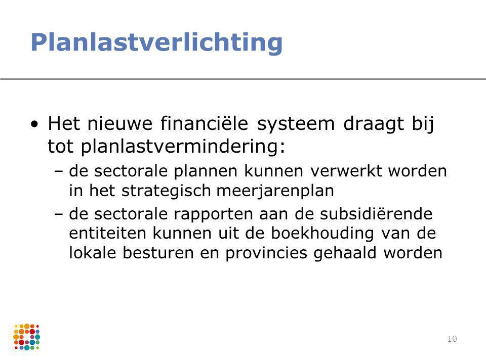 10 Planlastverlichting Het nieuwe financiële systeem draagt bij tot planlastvermindering: –de sectorale plannen kunnen verwerkt worden in het strategi