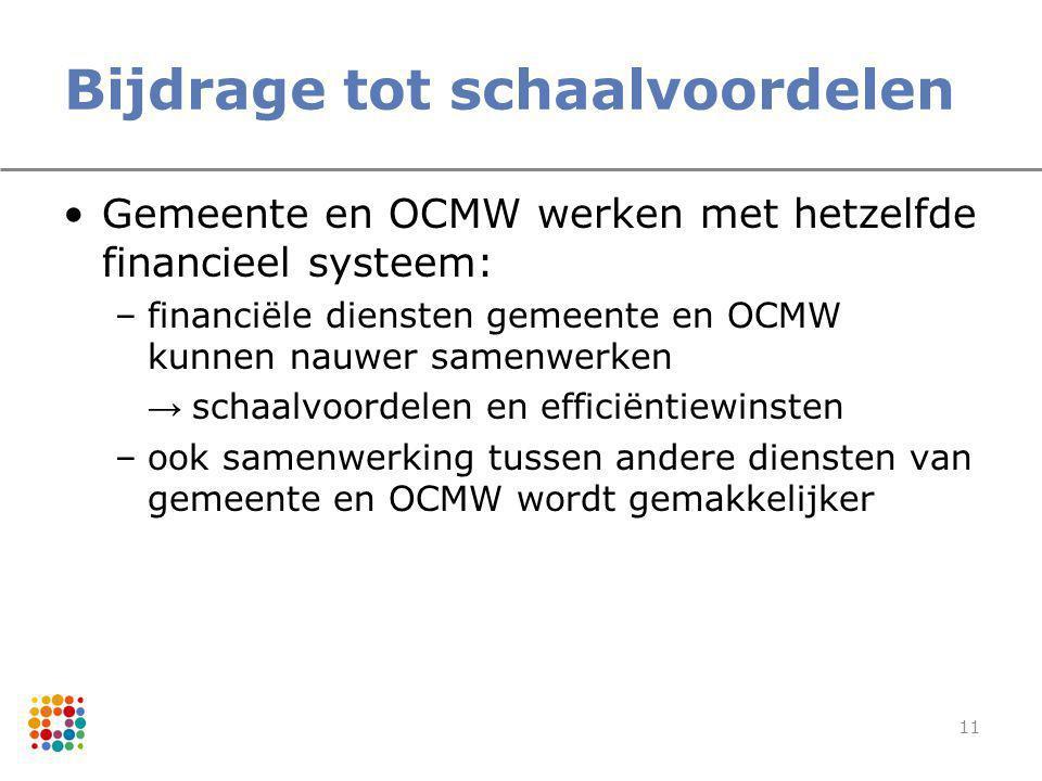 11 Bijdrage tot schaalvoordelen Gemeente en OCMW werken met hetzelfde financieel systeem: –financiële diensten gemeente en OCMW kunnen nauwer samenwer