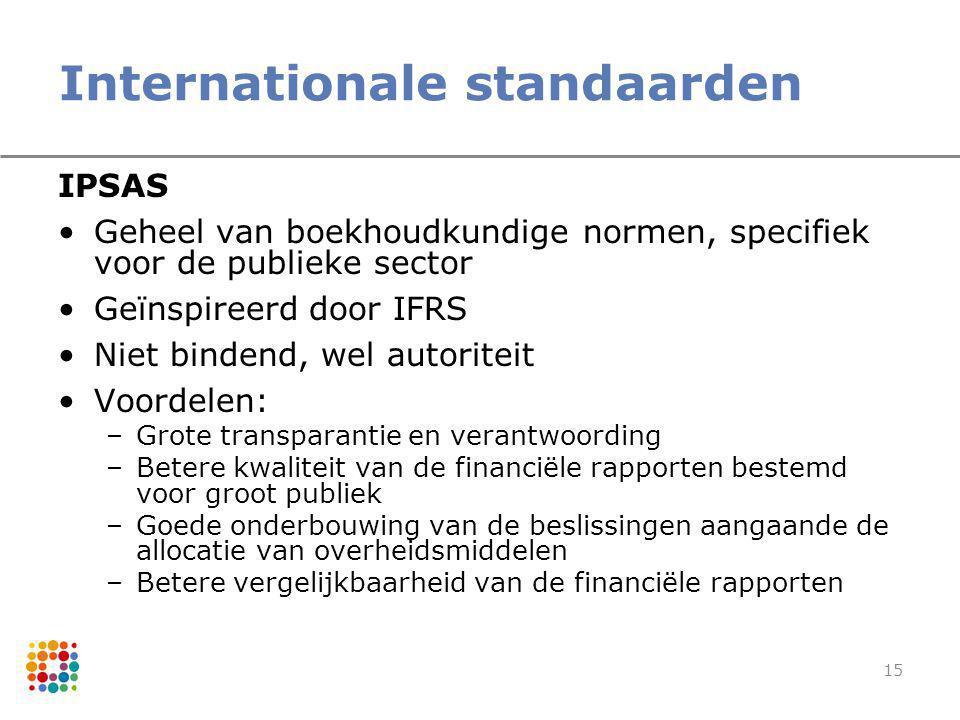 15 Internationale standaarden IPSAS Geheel van boekhoudkundige normen, specifiek voor de publieke sector Geïnspireerd door IFRS Niet bindend, wel auto