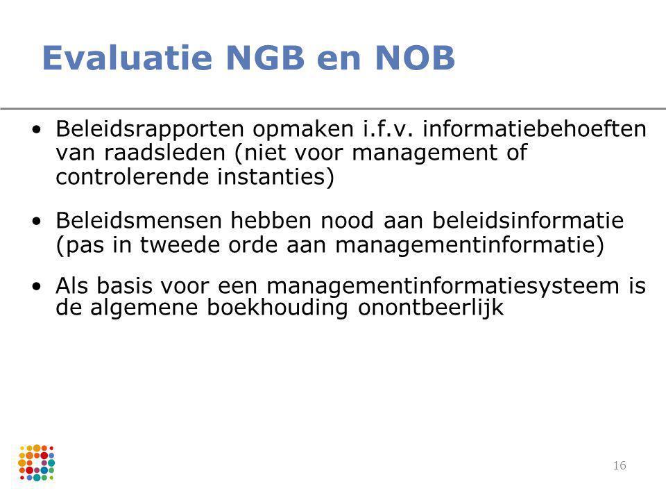 16 Evaluatie NGB en NOB Beleidsrapporten opmaken i.f.v. informatiebehoeften van raadsleden (niet voor management of controlerende instanties) Beleidsm