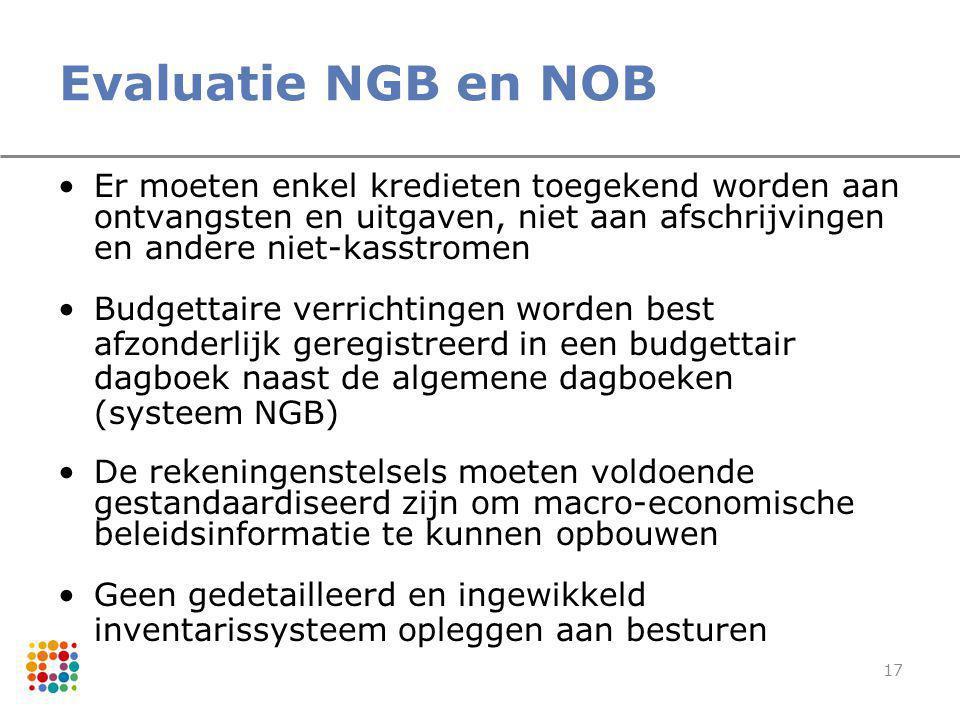 17 Evaluatie NGB en NOB Er moeten enkel kredieten toegekend worden aan ontvangsten en uitgaven, niet aan afschrijvingen en andere niet-kasstromen Budg