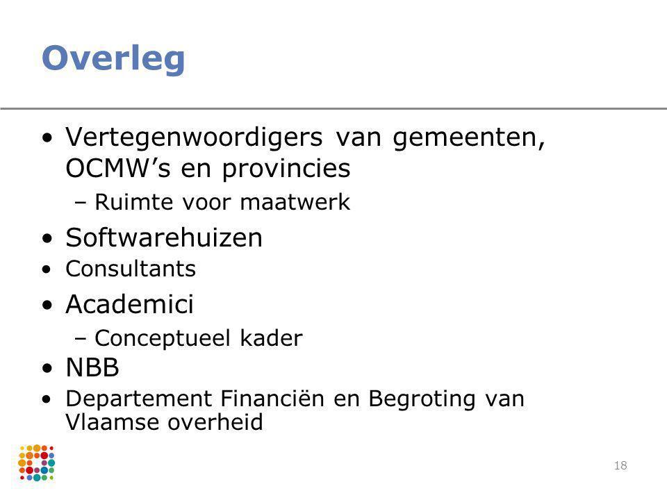 18 Overleg Vertegenwoordigers van gemeenten, OCMW's en provincies –Ruimte voor maatwerk Softwarehuizen Consultants Academici –Conceptueel kader NBB De