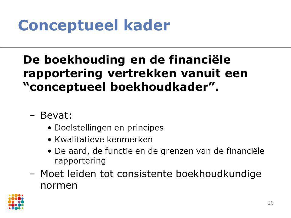 """20 Conceptueel kader De boekhouding en de financiële rapportering vertrekken vanuit een """"conceptueel boekhoudkader"""". –Bevat: Doelstellingen en princip"""