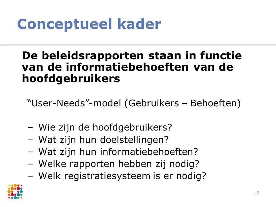 """21 Conceptueel kader De beleidsrapporten staan in functie van de informatiebehoeften van de hoofdgebruikers """" User-Needs """" -model (Gebruikers – Behoef"""