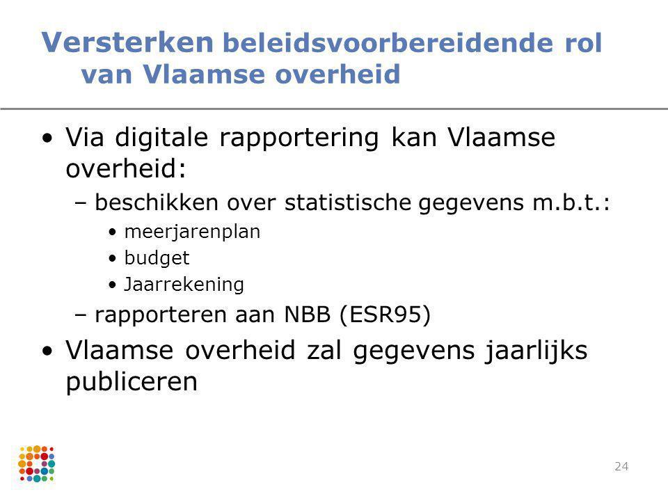 24 Versterken beleidsvoorbereidende rol van Vlaamse overheid Via digitale rapportering kan Vlaamse overheid: –beschikken over statistische gegevens m.