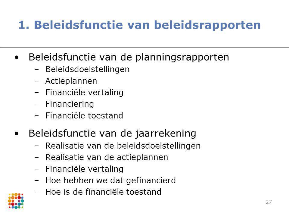 27 1. Beleidsfunctie van beleidsrapporten Beleidsfunctie van de planningsrapporten –Beleidsdoelstellingen –Actieplannen –Financiële vertaling –Financi