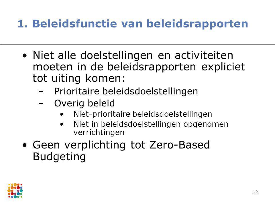 28 1. Beleidsfunctie van beleidsrapporten Niet alle doelstellingen en activiteiten moeten in de beleidsrapporten expliciet tot uiting komen: –Priorita