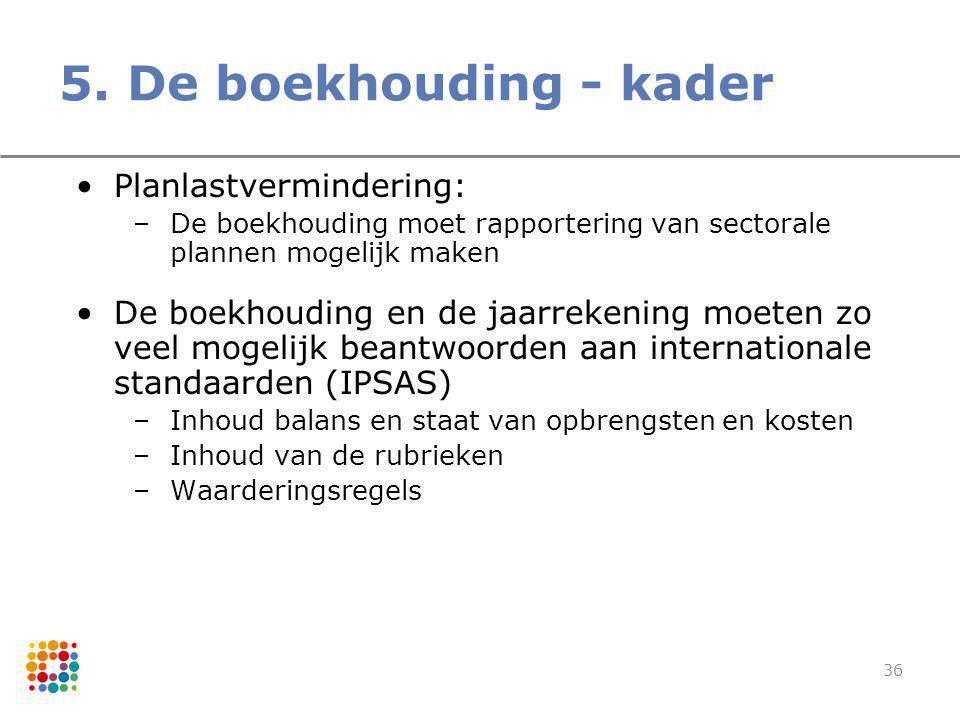 36 5. De boekhouding - kader Planlastvermindering: –De boekhouding moet rapportering van sectorale plannen mogelijk maken De boekhouding en de jaarrek