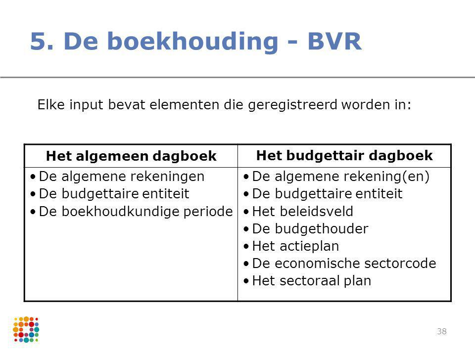 38 5. De boekhouding - BVR Elke input bevat elementen die geregistreerd worden in: Het algemeen dagboek Het budgettair dagboek De algemene rekeningen