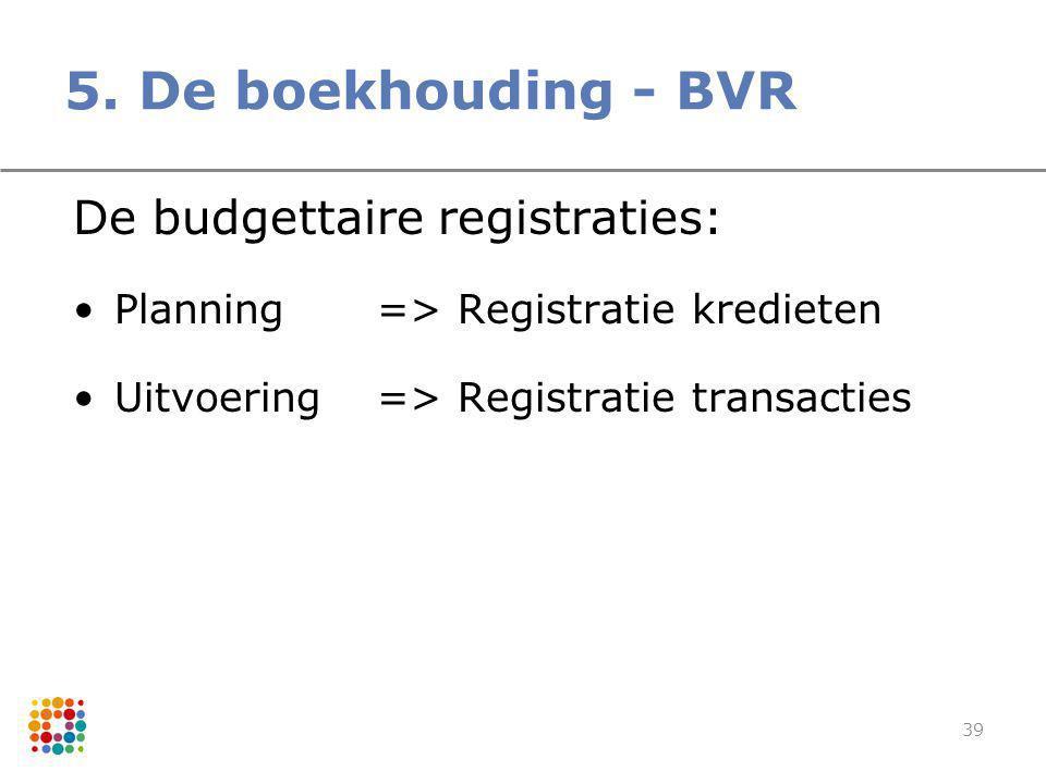 39 De budgettaire registraties: Planning=> Registratie kredieten Uitvoering=> Registratie transacties 5. De boekhouding - BVR