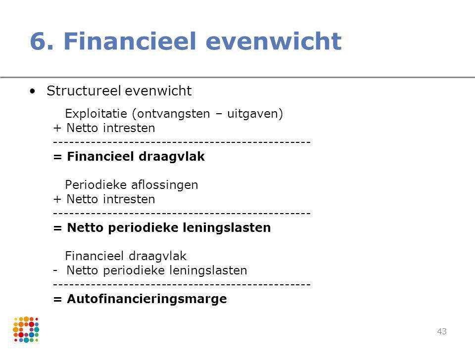 43 6. Financieel evenwicht Structureel evenwicht Exploitatie (ontvangsten – uitgaven) + Netto intresten ----------------------------------------------