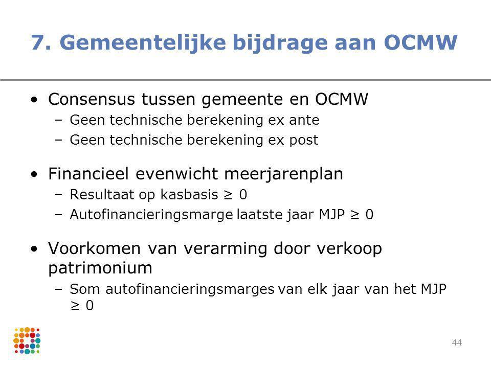 44 7. Gemeentelijke bijdrage aan OCMW Consensus tussen gemeente en OCMW –Geen technische berekening ex ante –Geen technische berekening ex post Financ