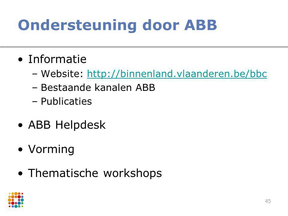 45 Ondersteuning door ABB Informatie –Website: http://binnenland.vlaanderen.be/bbchttp://binnenland.vlaanderen.be/bbc –Bestaande kanalen ABB –Publicat