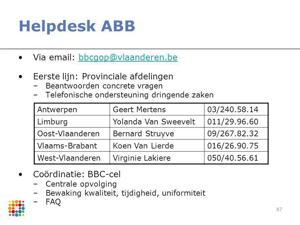 47 Helpdesk ABB Via email: bbcgop@vlaanderen.bebbcgop@vlaanderen.be Eerste lijn: Provinciale afdelingen –Beantwoorden concrete vragen –Telefonische on