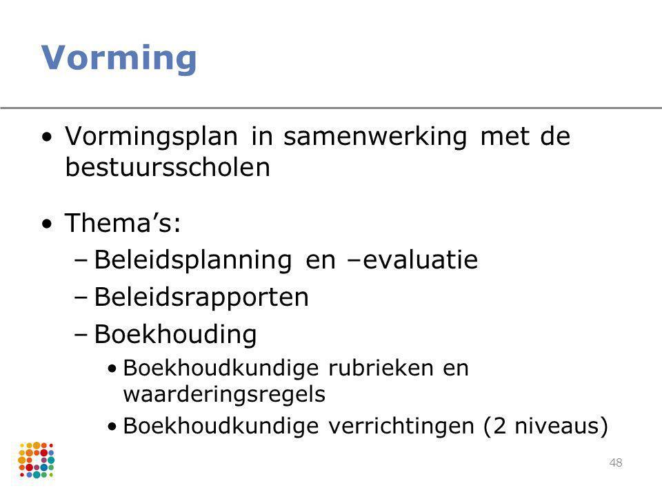 48 Vorming Vormingsplan in samenwerking met de bestuursscholen Thema's: –Beleidsplanning en –evaluatie –Beleidsrapporten –Boekhouding Boekhoudkundige